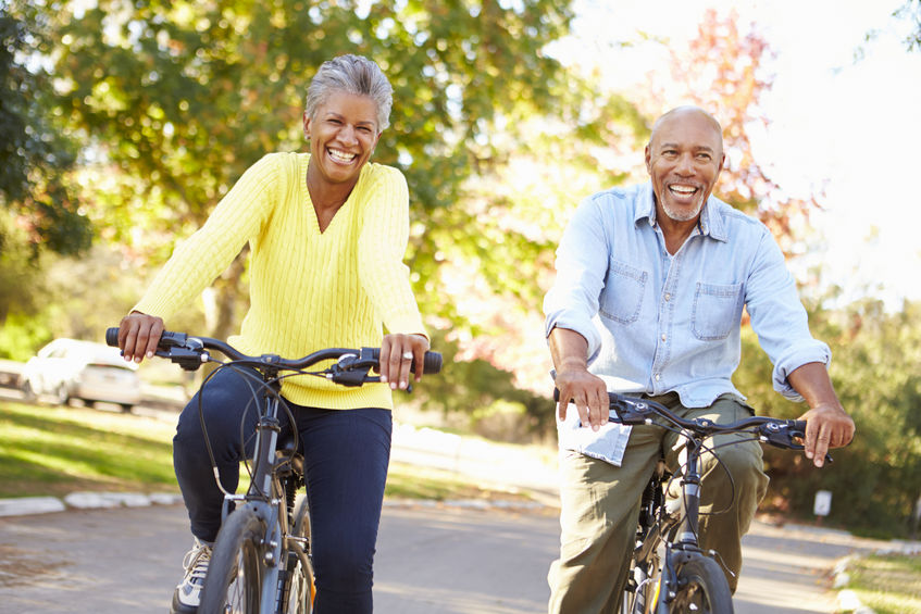 Happy biking couple.